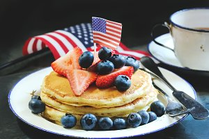 Breakfast pancakes for 4th of July