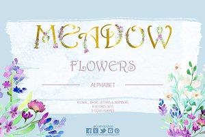 Meadow flowers wedding alphabet