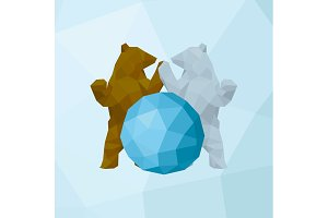 Two bears hold on hand near the abstract globe polygons style illustration