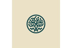 Linear modern tree with leaves Vector flat style illustration icon