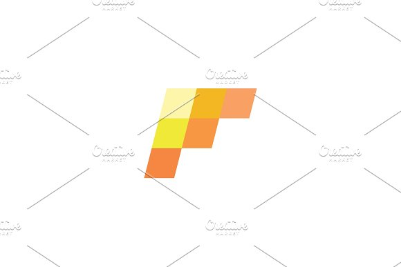 F Letter The Form Of Geometric Abstraction With Elements Modern Design Slope Minimalism