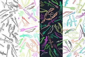 Hand Drawn Weapons Seamless Pattern