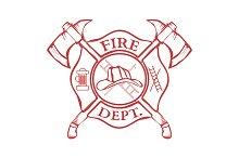 Fire Dept. Label. Helmet with Axes