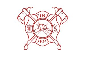 Fire Dept. Label. Helmet with Axes
