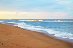 Beach with Golden Waves