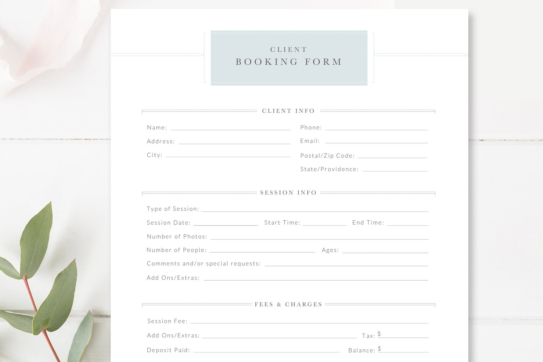 client booking form for photographer templates creative market