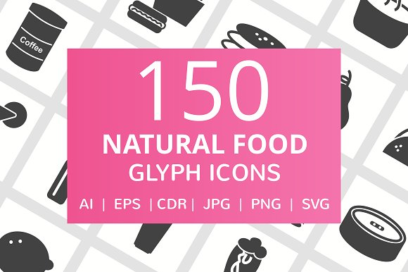 150 Natural Food Glyph Icons