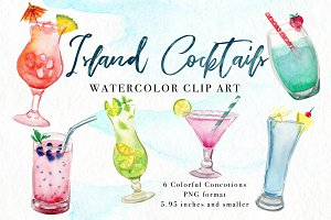 Island Cocktails Watercolor Clip Art