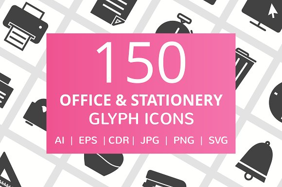 150 Office Stationery Glyph Icons