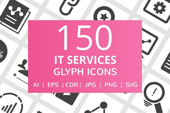 150 IT Services Glyph Icons