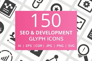 150 SEO & Development Glyph Icons
