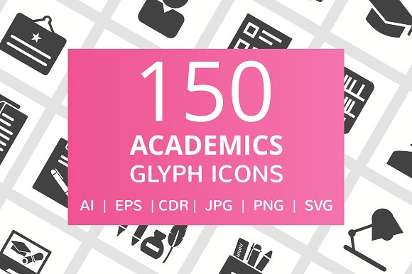 150 Academics Glyph Icons