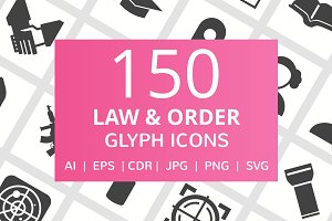 150 Law & Order Glyph Icons