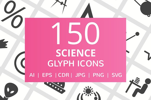 150 Science Glyph Icons