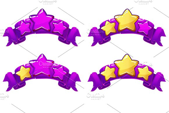 Vector Level Complete Ranking Banners With Stars On Violet Ribbon