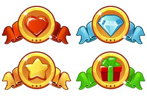 Cartoon colored icon design for game, UI Vector banner, star, heat, gift and diamond icons set
