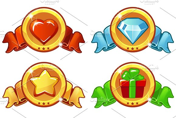 Cartoon Colored Icon Design For Game UI Vector Banner Star Heat Gift And Diamond Icons Set