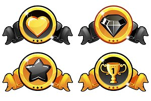 Gold and black icon design for game, UI Vector banner