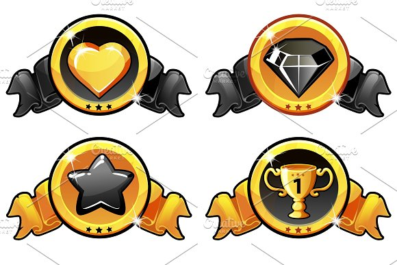 Gold And Black Icon Design For Game UI Vector Banner