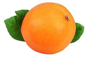 Orange with leaf isolated on the white background