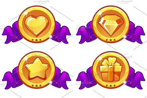 Cartoon Icon Design For Game UI Vector Banner Star Heat Gift And Diamond Icons Set