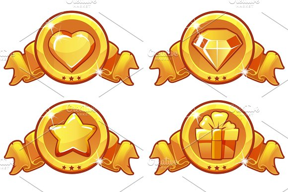 Cartoon Gold Icon Design For Game UI Vector Banner Star Heat Gift And Diamond Icons Set