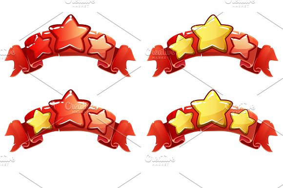 Vector Level complete ranking banners with stars on red ribbon