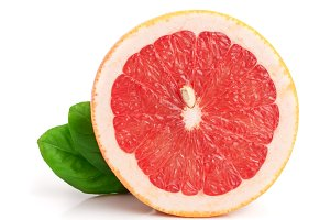 Grapefruit slices with leaf isolated on white background close-up