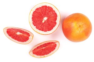 Grapefruit and slices isolated on white background. Top view. Flat lay pattern