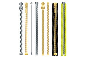 Metal and Plastic Zipper Set