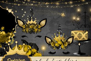 Black and Gold Unicorn Graphics
