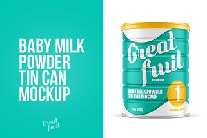 Milk Powder Tin Can Mockup