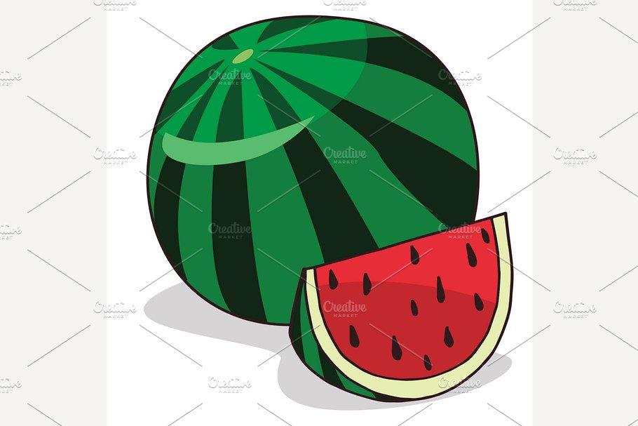 Isolate ripe watermelon fruit