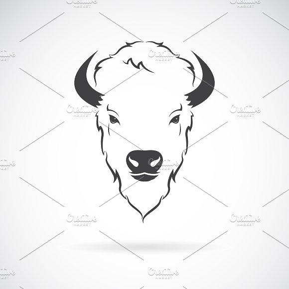 Vector Of A Buffalo Head Design