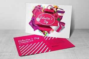 Valentines Day Party Flyer, Postcard