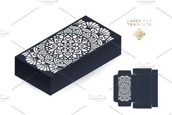 Vector Wedding Card Laser Cut Template Box Vintage Decorative Elements Hand Drawn Background Islam Arabic Indian Ottoman Motifs Vector Illustration