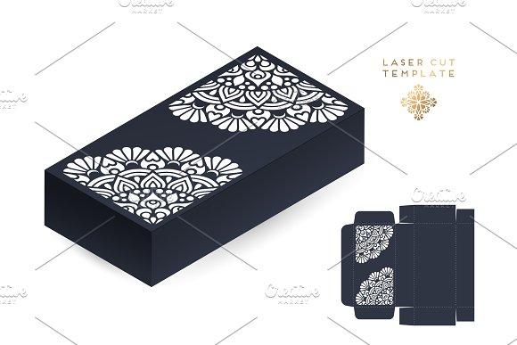 Vector wedding card laser cut template box. Vintage decorative elements. Hand drawn background. Islam, Arabic, Indian, ottoman motifs. Vector illustration