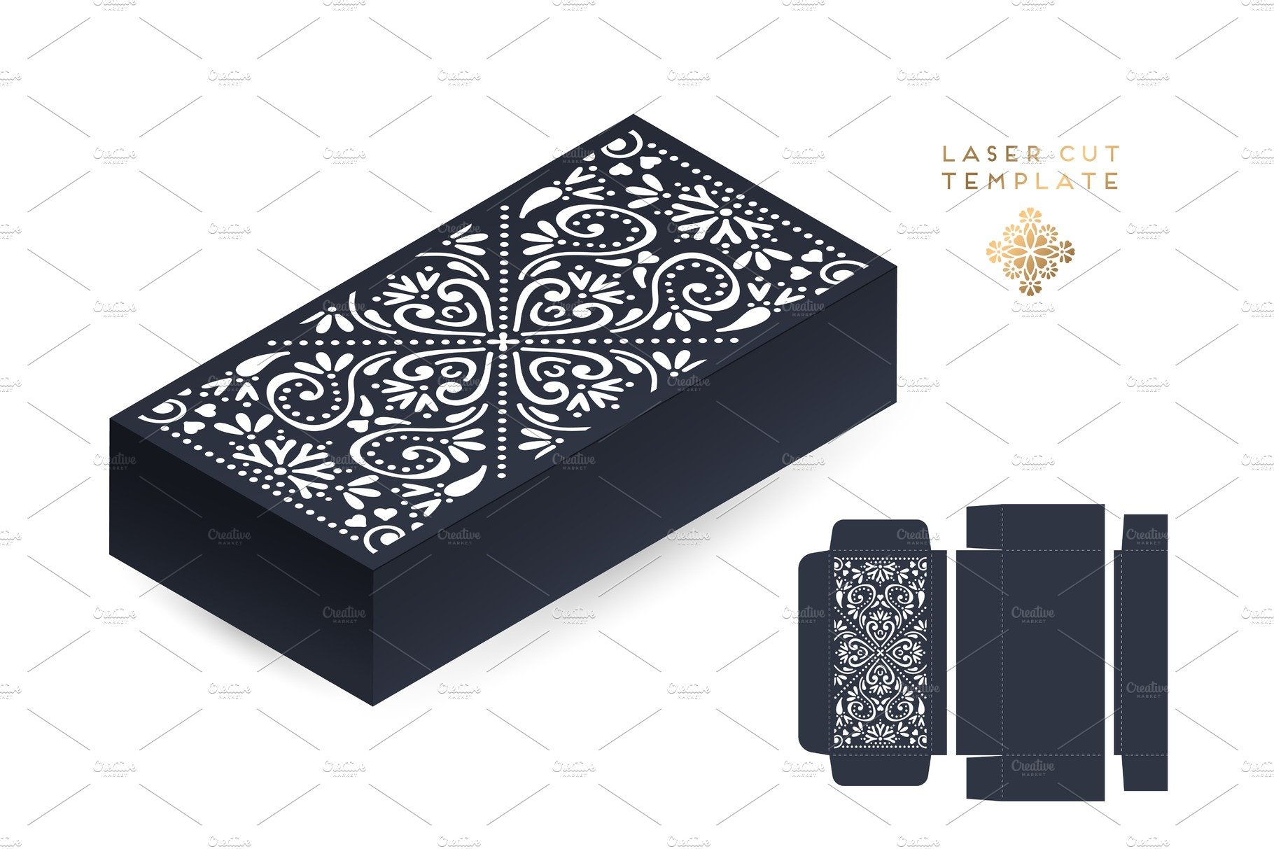 Vector wedding card laser cut template box. Vintage decorative ...