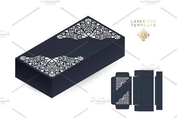 Vector Wedding Card Laser Cut Template Box Vintage Decorative Elements Hand Drawn Background Islam Arabic Indian Ottoman Motifs Vector Illustration