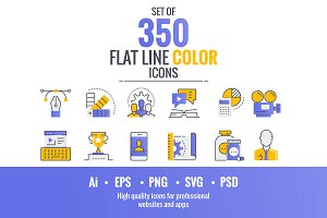 Set of flat smooth gradient icons