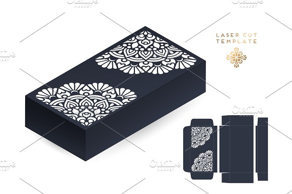 Vector wedding card laser cut template box. Vintage decorative elements. Hand drawn background. Islam, Arabic, Indian, ottoman motifs. Vector illustration