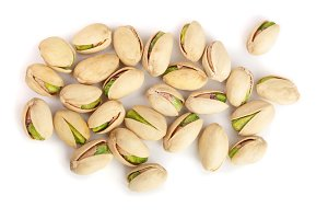 Pistachios isolated on white background, top view. Flat lay
