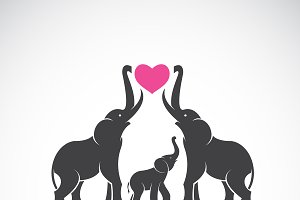 Vector of family elephants. Animal.