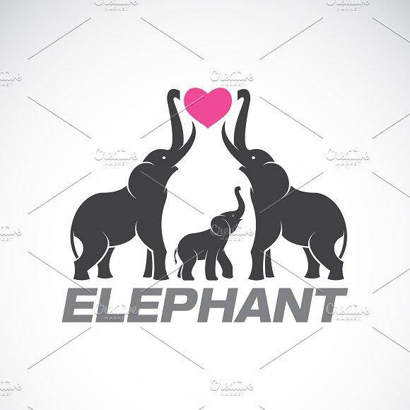 Vector of family elephants. Animal.