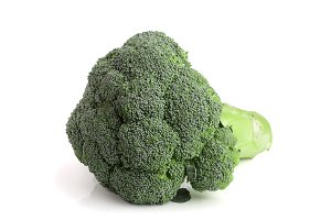 fresh broccoli isolated on white background close-up