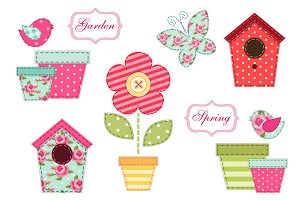 Cute spring patch elements