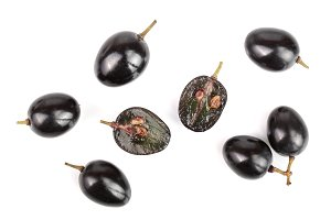 Dark grapes isolated on white background, top view. Flat lay
