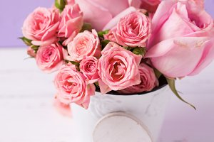 Pink roses  and white heart