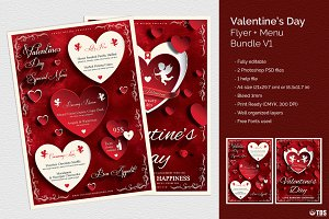 Valentines Day Flyer+Menu Bundle V1