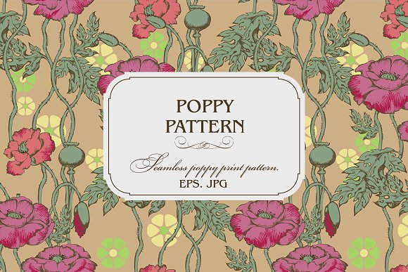 Sesmless pattern of poppy